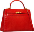 Luxury Accessories:Bags, Hermes 32cm Rouge Vif Salvator Lizard Sellier Kelly Bag with GoldHardware. N Circle, 1984. Good to Very GoodConditio...