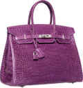 Luxury Accessories:Bags, Hermes 35cm Shiny Violet Porosus Crocodile Birkin Bag with Palladium Hardware. L Square, 2008. Excellent Condition. ...
