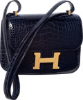 Luxury Accessories:Bags, Hermes 18cm Shiny Blue Marine Alligator Double Gusset Constance Bag with Gold Hardware. T, 2015. Pristine Condition...