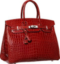 Luxury Accessories:Bags, Hermes 35cm Shiny Rouge H Porosus Crocodile Birkin Bag withPalladium Hardware. Q Square, 2013. Excellent to Pristine...