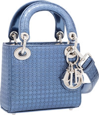 Christian Dior Metallic Blue Micro-Cannage Perforated Patent Leather Micro Lady Dior Bag Excellent Condition