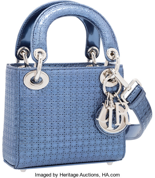 eef8f9de3 ... Luxury Accessories:Bags, Christian Dior Metallic Blue Micro-Cannage  Perforated PatentLeather Micro Lady ...