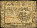 Colonial Notes:Continental Congress Issues, Continental Currency November 2, 1776 $4 Extremely Fine.. ...