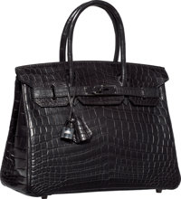 Hermes Limited Edition 30cm Matte So Black Nilo Crocodile Birkin Bag with PVD Hardware N Square, 2010