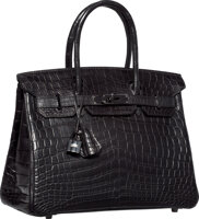 Featured item image of Hermes Limited Edition 30cm Matte So Black Nilo Crocodile Birkin Bag with PVD Hardware  N Square, 2010  Pristine Condi...