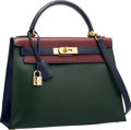 Luxury Accessories:Bags, Hermes 28cm Vert Fonce, Rouge H & Blue Marine Calf Box LeatherSellier Kelly Bag with Gold Hardware. U Circle, 1991.V...
