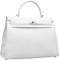 Luxury Accessories:Bags, Hermes 35cm White Epsom Leather Sellier Kelly Bag with Palladium Hardware. Q Square, 2013. Excellent Condition. 14...