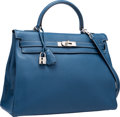 Luxury Accessories:Bags, Hermes 35cm Blue Thalassa Togo Leather Retourne Kelly Bag withPalladium Hardware. G Square, 2003. ExcellentCondition...