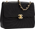 "Luxury Accessories:Bags, Chanel Black Radial Quilted Satin Shoulder Bag. Very GoodCondition. 8.5"" Width x 6"" Height x 2"" Depth. ..."