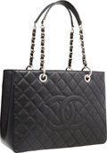 """Luxury Accessories:Accessories, Chanel Black Quilted Caviar Leather Grand Shopping Tote Bag.Excellent Condition. 13"""" Width x 10"""" Height x 5""""Depth..."""