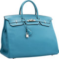 """Luxury Accessories:Bags, Hermes 40cm Blue Jean Clemence Leather Birkin Bag with PalladiumHardware. I Square, 2005. Excellent Condition. 15.5"""" Widt..."""