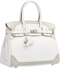 Hermes Limited Edition 30cm White & Gris Perle Swift Leather Ghillies Birkin Bag with Palladium Hardware P Squa