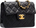 "Luxury Accessories:Bags, Chanel Navy Blue Quilted Lambskin Leather Mini Single Flap Bag withGold Hardware. Very Good Condition. 6.5"" Width x 5..."