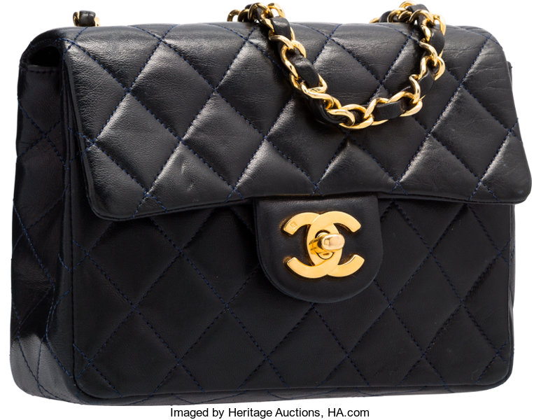 ... Luxury Accessories Bags, Chanel Navy Blue Quilted Lambskin Leather Mini  Single Flap Bag withGold ... 7c378d9fac
