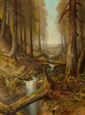 Fine Art - Painting, American:Antique  (Pre 1900), Ralph Albert Blakelock (American, 1847-1919). ForestInterior. Oil on canvas. 42 x 30 inches (106.7 x 76.2 cm).Signed l...