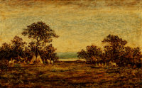 Ralph Albert Blakelock (American, 1847-1919) Indian Encampment Oil on panel 15-1/4 x 25 inches (3