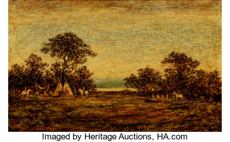 Ralph Albert Blakelock (American, 1847-1919) Indian Encampment Oil on panel 15-1/4 x 25 inches (38.7 x 63.5 cm) Sign...