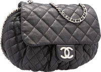 "Chanel Black Quilted Lambskin Leather Large Chain Around Crossbody Bag Very Good Condition 15"" Wi"