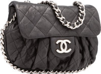 Chanel Black Quilted Lambskin Leather Small Chain Around Bag with Silver Hardware Excellent Condition