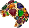 "Luxury Accessories:Accessories, Chanel Multicolor Gripoix Glass Cuff Bracelet. ExcellentCondition. 2"" Width x 6"" Length. ..."