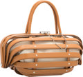 """Luxury Accessories:Bags, Salvatore Ferragamo Brown Leather Cage Bag. Very Good toExcellent Condition. 13"""" Width x 6"""" Height x 5"""" Depth...."""