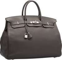 Hermes 40cm Graphite Clemence Leather Birkin Bag with Palladium Hardware I Square, 2005 Very Good