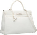Luxury Accessories:Bags, Hermes 35cm White Clemence Leather Retourne Kelly Bag with Palladium Hardware. K Square, 2007. Very Good to Excellent ...