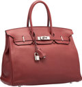 "Luxury Accessories:Bags, Hermes 35cm Rouge H Togo Leather Birkin Bag with PalladiumHardware. L Square, 2008. Good Condition. 14"" Width x 10""Heigh..."