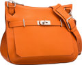 Luxury Accessories:Bags, Hermes 34cm Orange H Clemence Leather Jypsiere Bag with PalladiumHardware. Q Square, 2013. Excellent Condition.1...