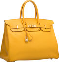 Luxury Accessories:Bags, Hermes 35cm Jaune Courchevel Leather Birkin Bag with Gold Hardware.B Square, 1998. Very Good to Excellent Condition...