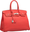 Luxury Accessories:Bags, Hermes 35cm Rouge Pivoine Togo Leather Birkin Bag with PalladiumHardware. R Square, 2014. Excellent Condition.14...