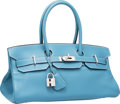 Luxury Accessories:Bags, Hermes 42cm Blue Jean Clemence Leather JPG Shoulder Birkin I Bagwith Palladium Hardware. J Square, 2006. Very GoodCo...