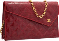 """Chanel Red Quilted Lizard Shoulder Bag Very Good to Excellent Condition 9.5"""" Width x 6"""" Height x"""