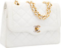"Luxury Accessories:Bags, Chanel White Quilted Leather Double Flap Bag. GoodCondition. 8.5"" Width x 6"" Height x 2"" Depth. ..."