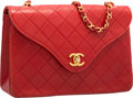 "Luxury Accessories:Bags, Chanel Red Quilted Lambskin Leather Flap Bag. Very GoodCondition. 9.5"" Width x 6"" Height x 3"" Depth. ..."