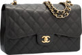 """Luxury Accessories:Bags, Chanel Black Quilted Caviar Leather Jumbo Double Flap Bag with GoldHardware. Pristine Condition. 12"""" Width x 8"""" Height x 3"""" Dep..."""