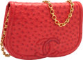 "Luxury Accessories:Bags, Chanel Red Ostrich Shoulder Bag. Very Good to ExcellentCondition. 9"" Width x 5"" Height x 2"" Depth. ..."