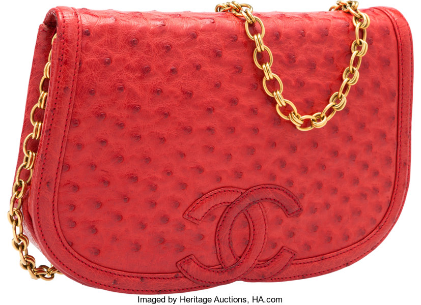 Luxury Accessories Bags, Chanel Red Ostrich Shoulder Bag. Very Good to  ExcellentCondition. 4df16b4c5a