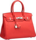 "Luxury Accessories:Bags, Hermes 30cm Rouge Pivoine Clemence Leather Birkin Bag withPalladium Hardware. T, 2015. Pristine Condition.12"" Wi..."