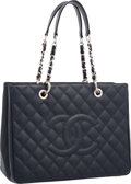"Luxury Accessories:Accessories, Chanel Navy Blue Quilted Caviar Leather Grand Shopping Tote Bag.Very Good Condition. 13"" Width x 10"" Height x 5""Widt..."