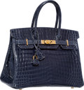 Luxury Accessories:Bags, Hermes 30cm Shiny Indigo Nilo Crocodile Birkin Bag with GoldHardware. N Square, 2010. Very Good to ExcellentConditio...