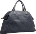 "Luxury Accessories:Bags, Bottega Veneta Navy Blue Intrecciato Nappa Leather Convertible Tote Bag. Excellent Condition. 21"" Width x 14"" Height x..."