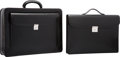 """Luxury Accessories:Bags, Valextra Black Leather Compasso d'Oro 24 Hour Briefcase Bag.Excellent Condition. 17"""" Width x 13"""" Height x 4""""Depth..."""