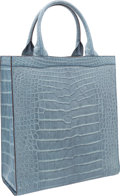 "Luxury Accessories:Bags, Valextra Matte Blue Alligator Punch Tote Bag. Very Good toExcellent Condition. 13"" Width x 14"" Height x 5"" Depth...."