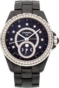 """Chanel Black Ceramic & Diamond J12 Moonphase Watch Excellent Condition 1.5"""" Width x 6"""" Length"""