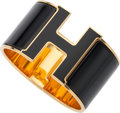 """Luxury Accessories:Accessories, Hermes Black Enamel Extra Wide Clic-Clac H PM Bracelet with Gold Hardware. Excellent Condition. 1.5"""" Width x 2"""" Diameter..."""