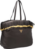 "Luxury Accessories:Bags, Prada Black & Gold Leather Fringe Tote Bag. ExcellentCondition. 15"" Width x 9"" Height x 5"" Depth. ..."