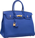 "Luxury Accessories:Bags, Hermes 35cm Blue Electric Togo Leather Birkin Bag with GoldHardware. Q Square, 2013. Pristine Condition. 14""Widt..."