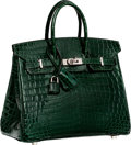 Luxury Accessories:Bags, Hermes 25cm Shiny Vert Fonce Nilo Crocodile Birkin Bag withPalladium Hardware. N Square, 2010. Excellent to Pristine...