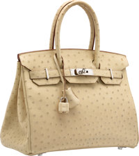 Hermes 30cm Parchment Ostrich Birkin Bag with Palladium Hardware P Square, 2012 Excellent Conditi